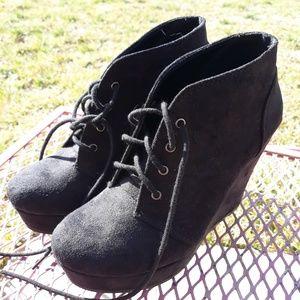 Black faux suede wedge booties